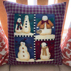 Cranberry Cotton Plaid Holiday Snowman Pillow